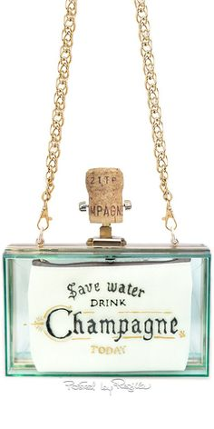 """Save water, drink Champagne"" Transparent Clutch with Cork Closure and Gold Chain Strap Unique Handbags, Unique Purses, Unique Bags, Handbags On Sale, Luxury Handbags, Purses And Handbags, Designer Handbags, Wholesale Handbags, Fashion Bags"