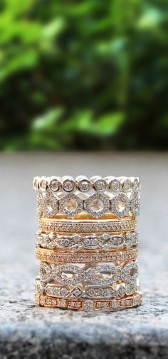 Dana Rebecca diamond stacking rings. Layer on a look that's uniquely yours!