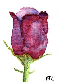 "ACEO Orginal Watercolour ""Purple tulip"" by Anne Londez / Aquarelle originale ""Tulipe violette"""