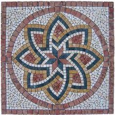 Rosace en marbre et pierre naturelle Florium Rosso - FLORIUMROSSO - Revêtement sol et mur Mosaic Tile Art, Mosaic Crafts, Mosaic Projects, Free Mosaic Patterns, Tile Patterns, Mosaic Designs, Paint Designs, Islamic Art Pattern, Creta