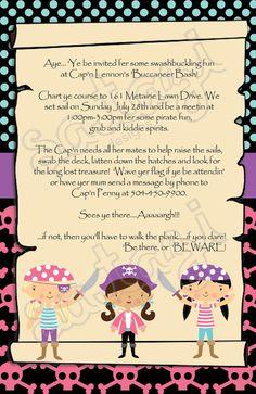 Girl Pirate birthday party invitation