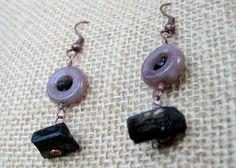 Copper Jade & Black Stone Earrings by Cu29Creations on Etsy