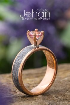 Jewelry by Johan's solitaire engagement rings are handcrafted with exotic materials like Gibeon meteorite. Gibeon Meteorite, Solitaire Engagement, Heart Ring, Exotic, Gemstone Rings, Peach, Wedding Ideas, Pink, Jewelry