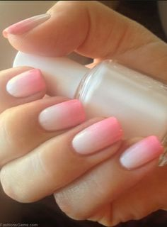 Ombre pink and white nails