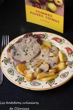Côte de porc, sauce au cidre et pommes poêlées, une recette de Trish Deseine
