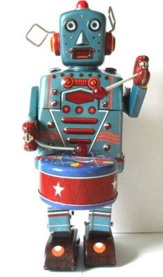 Tin Toy Large drumming robot http://www.ebay.com/itm/Tin-Toy-Large-drumming-robot-tin-toy-robot-/370652101178?pt=UK_Toys_Creative_Educational_RL&hash=item564c963a3a