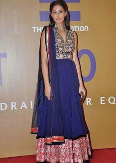 Nargis Fakhri Raplica Blue Color Beautiful Anarkali Suit : Color : Blue Fabric :       Top        : 60 gram Georgette       Bottom  : Semi Santoon       Inner     : Santoon       Dupatta : Square Net