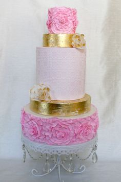 Shabby Chic Modern Wedding Cake by Butterfly Sweets  #shabbychic #shabbychicwedding #goldleaf #ruffleroses #waferpaper #waferpaperflowers