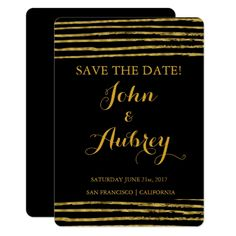 Faux Gold Foil Save the Date Elegant Wedding Card