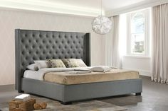 12ce814662e LuXeo Newport King-Size Wingback Tufted Upholstered Contemporary Bed in  Gray Fabric