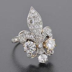 Edwardian 18kt & Platinum Diamond Fleur-de-lys Ring