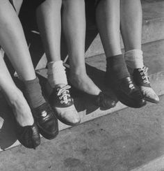 girls in loafers   pair of ballet flats, penny loafers, and saddle shoes...this picture ...