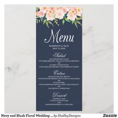 Navy and Blush Floral Wedding Menu Card Wedding Candy, Wedding Desserts, Wedding Themes, Wedding Decorations, Wedding Ideas, Wedding Dinner Menu, Wedding Menu Cards, Wedding Color Schemes, Wedding Colors