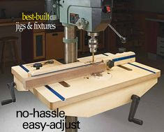 Upgrade Your Drill Press Table: Building a table and fence for your drill press makes it easier and safer to support a large workpiece. But the auxiliary table can get in the way of the height adjustment crank. This table gives you easier access with some clever hardware solutions.