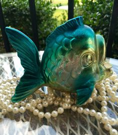 1950s Blue and gold open mouth fish fish figurine goldfish