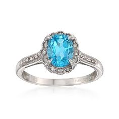 1.65 Carat Blue Topaz Ring With Diamonds in 14kt White Gold