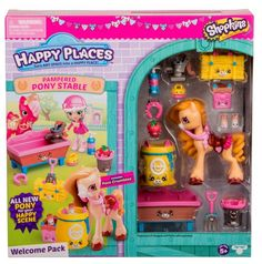 Happy Places™ Shopkins™ is a range of super cute miniature Petkins furniture and accessories for you to decorate your Lil' Shoppies places and bring it to life. Now you can create a Happy Place outdoors with the new Happy Stables collection! The Happy Pl Shopkins Gifts, Shopkins Game, Shopkins And Shoppies, Moose Toys, Dollhouse Kits, Baby Alive, Tonne, Lol Dolls, Toys For Girls