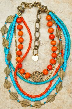 Mali: Exotic Turquoise, Orange Glass and African Brass Statement Necklace $350 tribal, bohemian