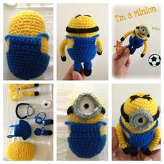 Minion crochet free pattern  I enjoyed doing this  Thanks once again to little yarn friends