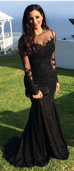 Mermaid Lace Black Beading Prom Dress,Long Prom Dresses,Charming