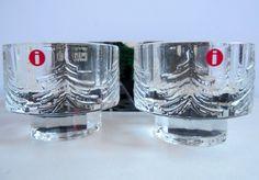 Pair Iittala Finland Kuusi Glass Votive Candle Holder Pine Fir Tree New in Box