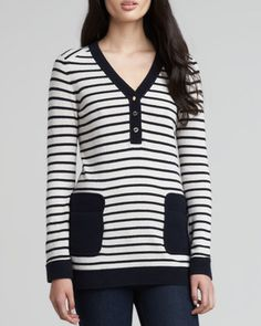 Tory Burch Felicia Army-Striped Sweater, Navy on shopstyle.com