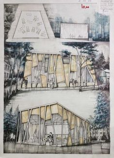 Architecture Concept Drawings, Pavilion Architecture, Architecture Graphics, Architecture Portfolio, Landscape Architecture, Landscape Design, Architecture Design, Building Sketch, House