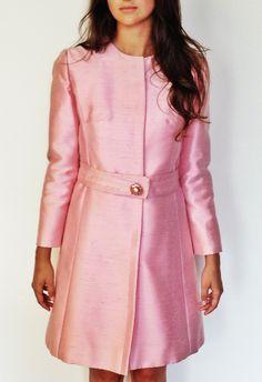 Embellished Pink Silk A-line Shift, vintage Saks Fifth Avenue, 1960's raw silk. On Wiseling.com, shop name Velvet Underground Vintage, on Etsy.com shop VUVintage or vuvintage.com.