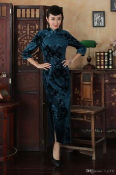 China Style Long Cheongsam Dress,women Fashion Autmun Embroidery Chinese Dress Velvet Dress Floral Qipao T0002 Online with $78.8/Piece on Lily1111's Store   DHgate.com