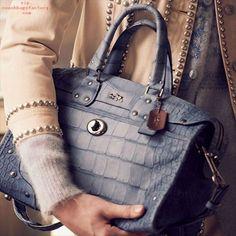 Rhyder Satchel in Croc Embossed Denim Leather Cheap Coach Purse Handbags Coach Handbags, Coach Purses, Coach Bags, Purses And Handbags, Fashion Bags, Womens Fashion, Fashion Trends, Fashion Handbags, Womens Designer Bags