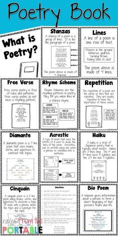 How to Teach Poetry (Even if You Hate it Love these poetry anchor charts! They were perfect for my language arts bulletin board. I also made copies for my writing workshop folders. This was a great poetry vocabulary resource! Teaching Poetry, Teaching Language Arts, Teaching Writing, Teaching English, Kindergarten Writing, English Language Arts, Japanese Language, Spanish Language, French Language