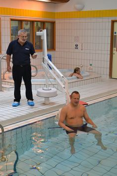 Pool Lift Buyers Guide: Splash! Pool Access Lift aids rehab. Supplied and installed by Dolphin Lifts.
