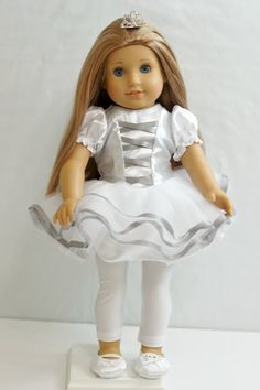 White tutu costume by ThreadsandSplinters on Etsy. Made from the Tutu Cute Storybook Dress Up Costume Dress pattern, found at  http://www.pixiefaire.com/products/tutu-cute-story-book-dress-up-costume-dress-18-doll-clothes. #pixiefaire #tutucutestorybookdressupcostumedress