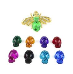 RARE Joan Rivers Goldtone 9 Color Interchangeable Bee Pin  #JoanRivers