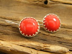 Red coral color majorca pearls earringssilver by sherijewelry