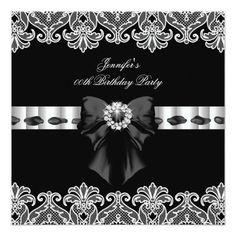 Black White Diamonds Lace Birthday Party 2 Card
