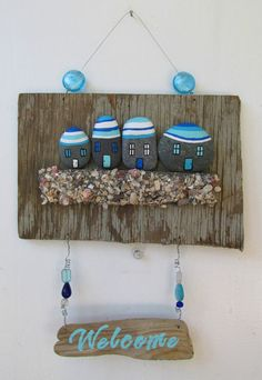 This ocean inspired welcome sign is made completely of items from the sea