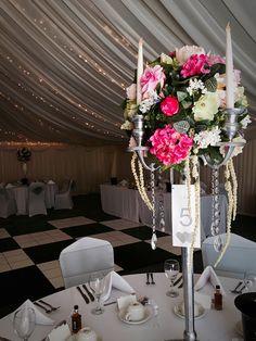 Wedding Venue, Marquee Venue, Ceremony Venue, Shipley, West Yorkshire, Silver and PInk Theme, candelabra  Centre Pieces