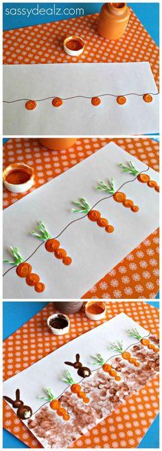 Fingerprint Carrot and Bunny Craft for Kids at Easter time! #Easter craft for kids #toddler approved | CraftyMorning.com #eastercraftsforkidspreschool