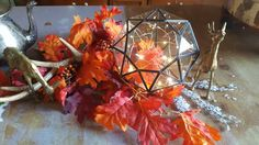 Enchanting Fall Leaded Glass Geometric Diamond Shape Rustic Center Piece Home Wedding Fall Winter Country Farm