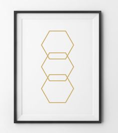 Gold Hexagons, Hexagon Art, Gold Geometric Walll Print, Gold Triangle, Minimalist Print Golden Decorations, Gold Honey Comb Digital Print
