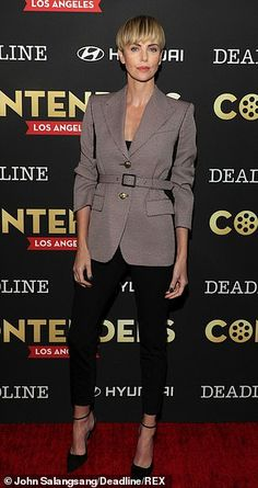 Margot Robbie and Charlize Theron mean business as they lead stars at Deadline Contenders in LA Charlize Theron Short Hair, Androgynous Haircut, Robin Wright, Popular Actresses, Fashion Vocabulary, Looking Dapper, Great Women, Margot Robbie, Crazy Hair
