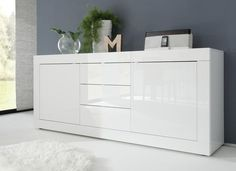 Basic Collection Sideboard Two Doors/Three Drawers - White High Gloss lacquer | Sideboards & display cabinets
