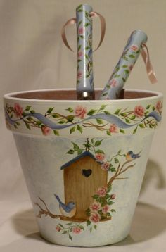 Painted Birdhouse Pot and matching garden tools...sold