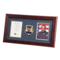 Police Department Medallion Double Picture Frame Hand Made By Veterans