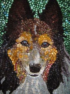 Bailey by bottle cap artist Molly Right. Photo Credit: Molly Right. Bailey by bottle cap artist Molly Right. Photo Credit: Molly Right. Bottle Cap Projects, Bottle Cap Crafts, Diy Bottle, Beer Cap Art, Beer Bottle Caps, Plastic Bottle Tops, Plastic Art, Button Art, Button Crafts