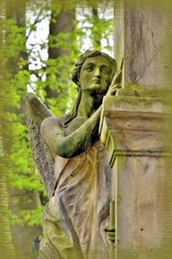 Cemetery angel statue.... This frightens me...