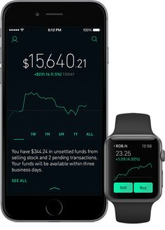 Robinhood app on iPhone and Apple Watch. Shows stock price trend line.