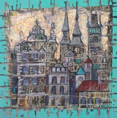 Magic town. Oil on canvas,60*60 cm.