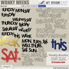 Brush Set: Wonky Weeks Digital Scrapbooking Stamps by AFT Deisgns - Amanda Fraijo-Tobin @ScrapGirls.com